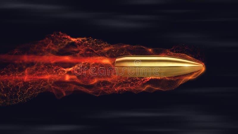 Pallottola di volo con le tracce illustrazione di stock
