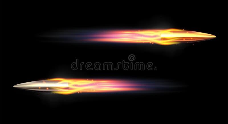Pallottola realistica di vettore Pallottola volante con una traccia ardente Pallottole brillanti del fucile illustrazione vettoriale