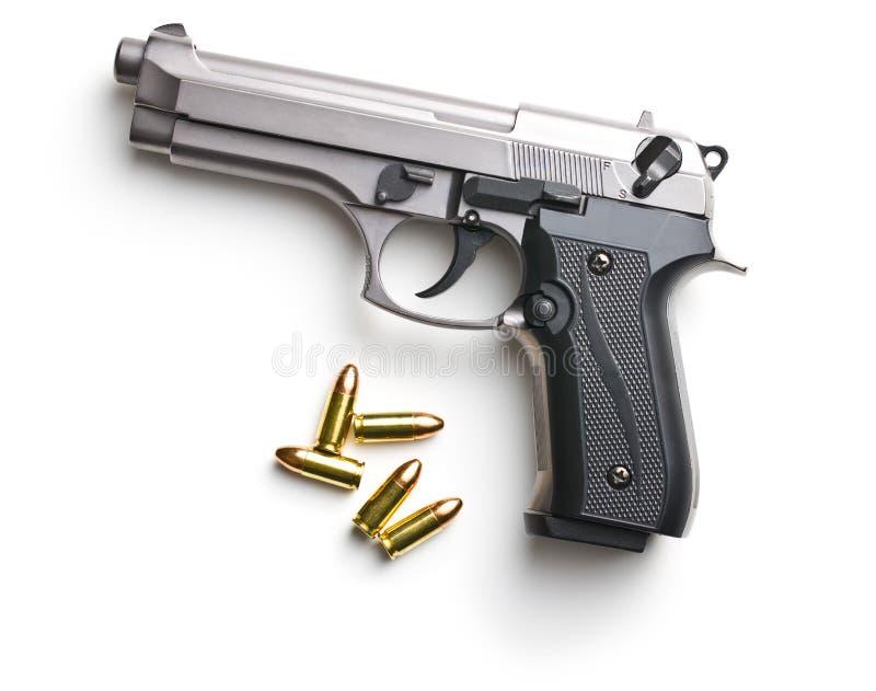 pallottole e rivoltella della pistola di 9mm fotografie stock