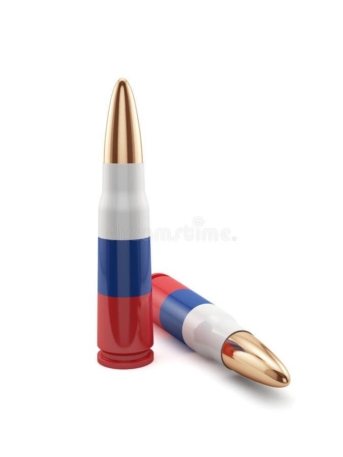 Pallottole russe della bandiera illustrazione di stock