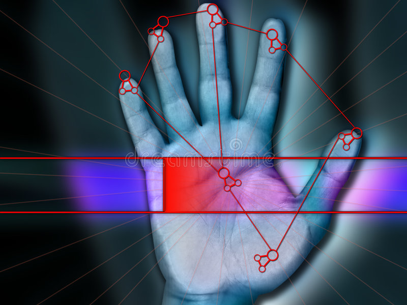 Palm access Scanning. Biometric hi security palm scanning for security network access stock photo