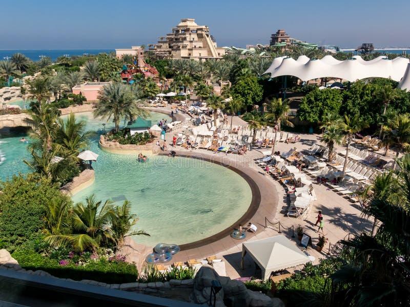 The Palm Atlantis Water Park in Dubai stock image