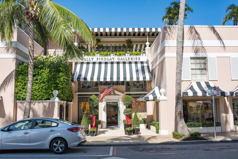 Palm Beach, Florida. December 6, 2017: Beautiful, wealthy and opulent Palm Beach area of Florida. Palm Beach is the home of many famous and wealthy individuals stock photography