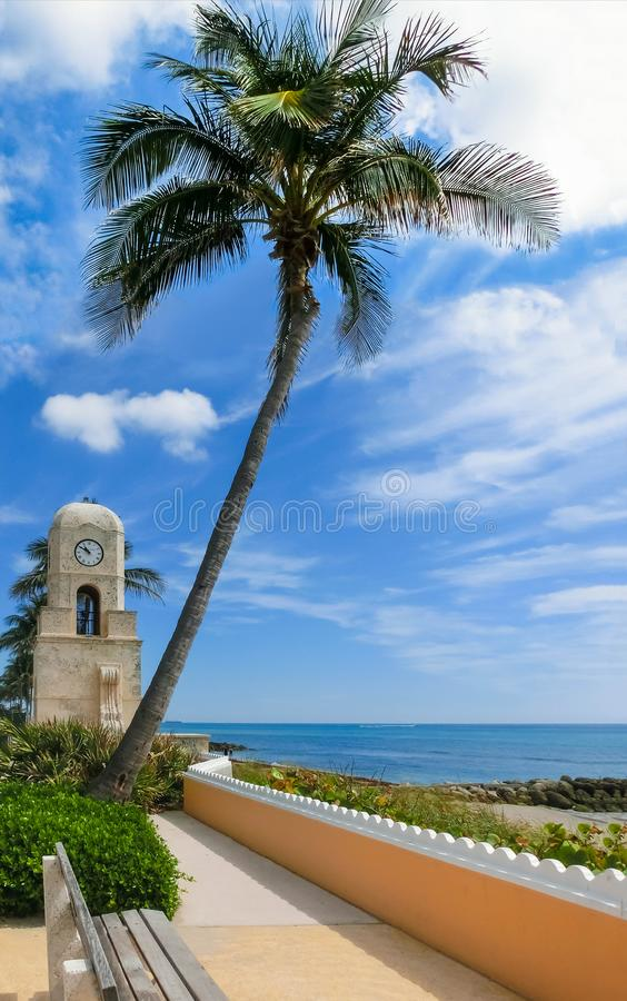 Palm Beach, Florida, USA clock tower on Worth Ave. Palm Beach, Florida, USA. The clock tower on Worth Avenue stock photo