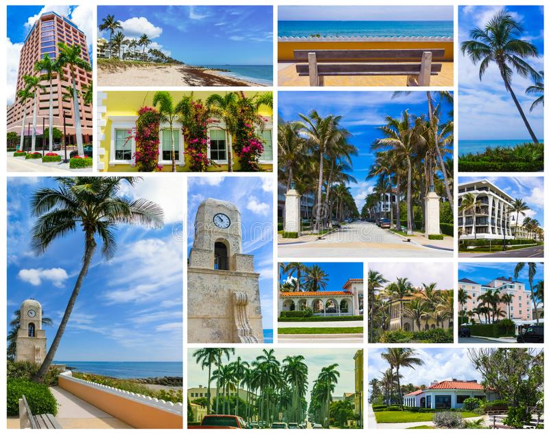 Palm Beach, Florida, USA clock tower on Worth Ave. Collage about West Palm Beach, Florida, USA. The clock tower on Worth Avenue and the center of town at United stock photography
