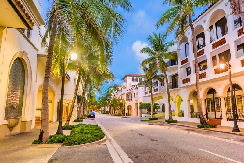 Palm Beach, Florida, USA at Worth Ave. At twilightt royalty free stock image