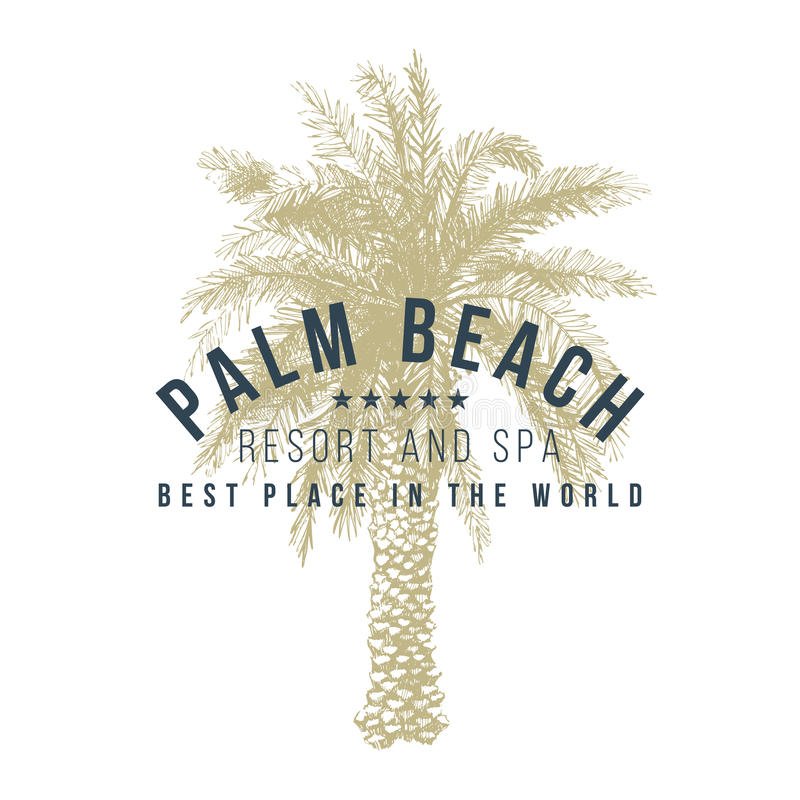 Palm beach logo template. With hand drawn palm tree stock illustration