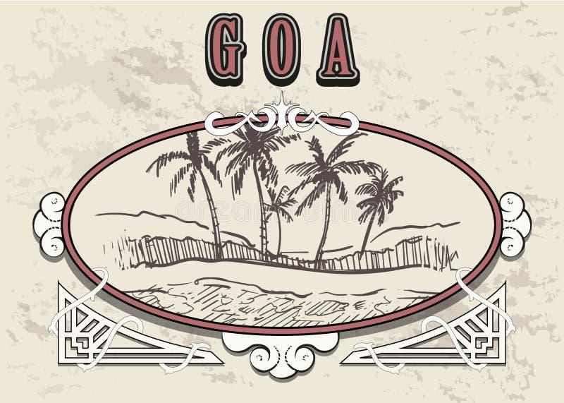 Palm Beach tirée par la main dans le vieux cadre de cru Illustration de vecteur de croquis de Goa illustration libre de droits