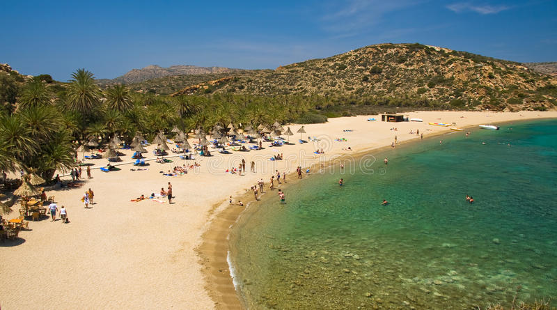 Palm Beach Vai on Crete, Greece royalty free stock image