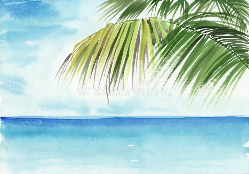 Palm- Beacherholungsort stock abbildung