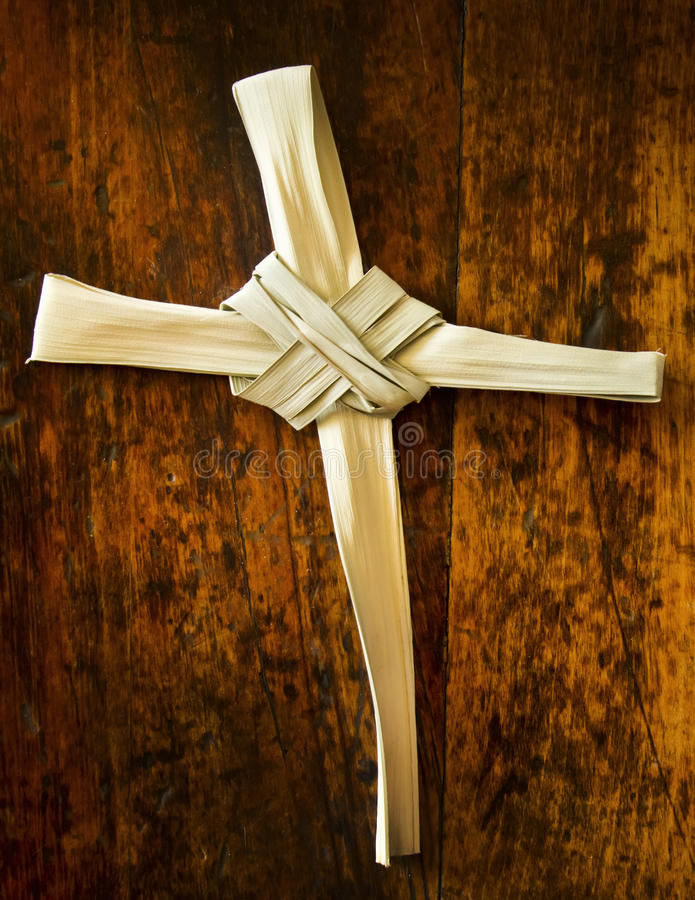 Download Palm Branch On Old Wood Seat At Sunday Mass Stock Image - Image: 39477005