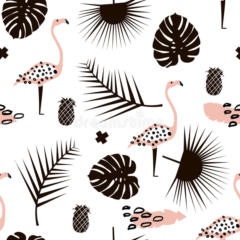 Palm branch trendy seamless pattern with hand drawn elements. Monstera leaf,pinapple,flamingo. Great for fabric, textile Vector Il stock illustration