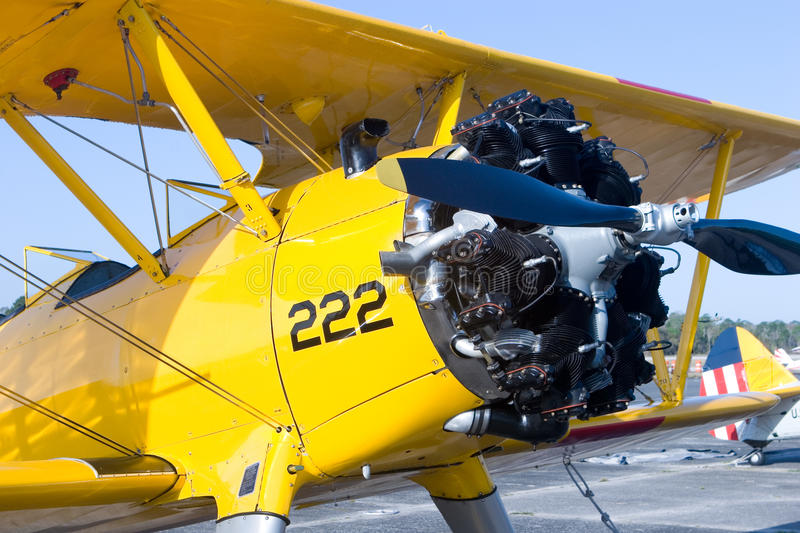 Palm Coast Air Show. PALM COAST, FLORIDA - MARCH 27: A close-up of a bi-plane that is on display at the Wings Over Flagler Air Show at the Flagler County Airport stock images