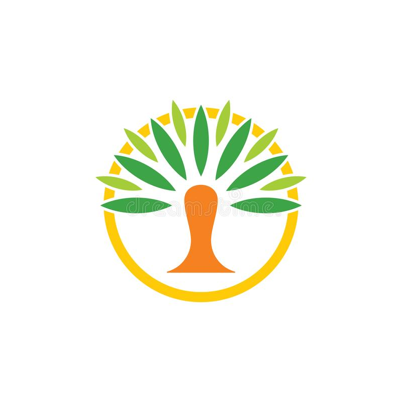 Palm dates tree circle simple geometric logo vector. Unique unusual elegant luxury simple design concept vector illustration