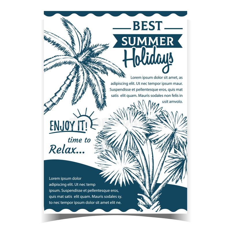 Palm Decorative Trees on Advertising Poster Vector royaltyfri illustrationer