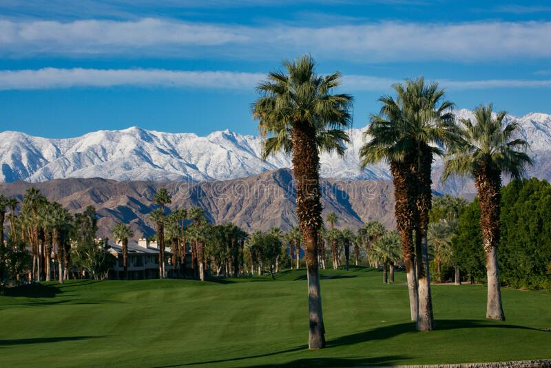 Palm Desert Springs golfterrein bergen met sneeuwkapje Palm-bomen stock afbeelding