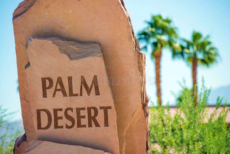 Palm Desert Stone Sign. Palm Desert City Entrance Sign. California Coachella Valley. United States royalty free stock photos