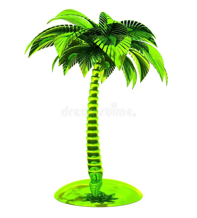 Palm gestileerd groen de aardijzer van de eiland tropisch installatie stock illustratie