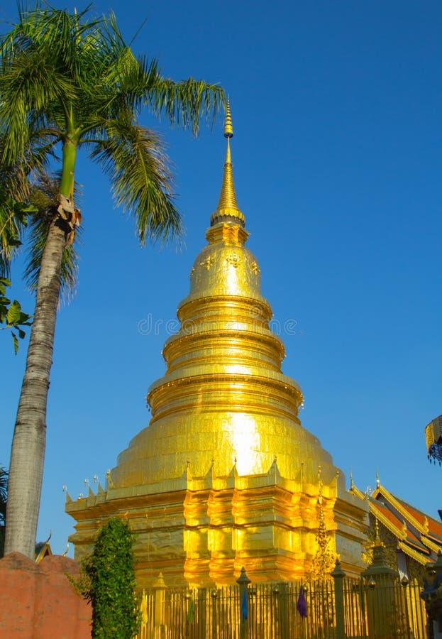 Palm, Gouden pagode en de gouden paraplu met blauwe hemelachtergrond royalty-vrije stock foto's
