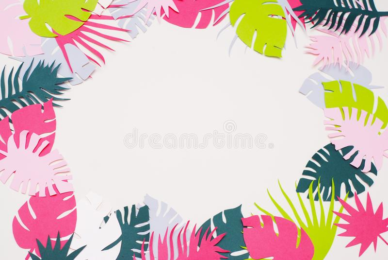 Palm Green Leaves Tropical Exotic Tree Isoalted on White Background. Square Image. Holliday Patern Template Leaf stock images