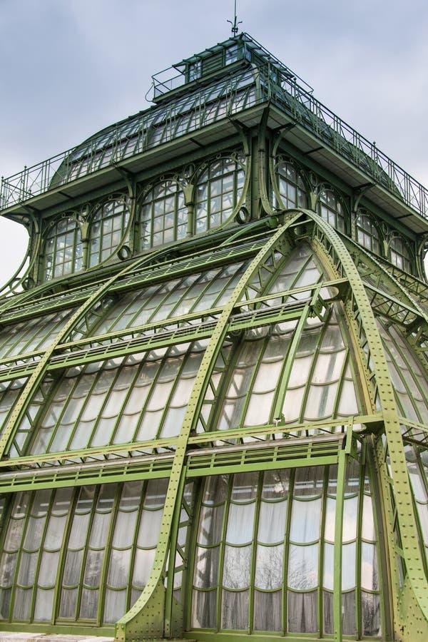 Palm House building Palmenhaus, an art nouveau structure at the imperial garden of Schonbrunn in Vienna, Austria. Palm House building Palmenhaus, an art nouveau stock images
