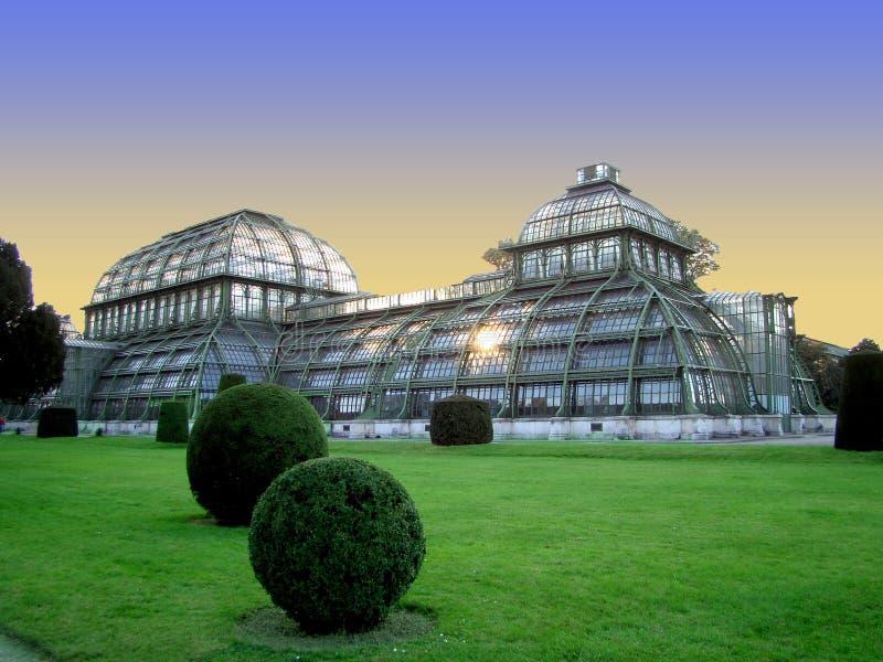 Palm House building Palmenhaus, an art nouveau structure at the imperial garden of Schonbrunn in Vienna, Austria stock photos