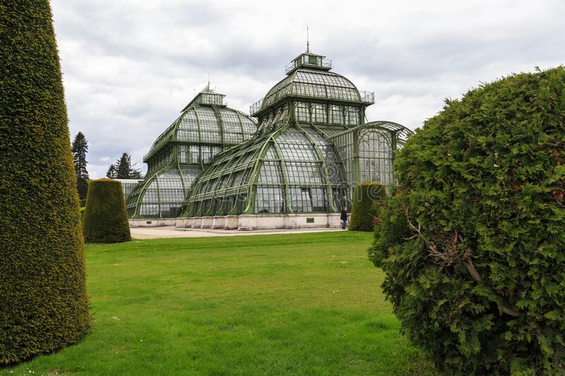 Palm House in Schonbrunn Park, Vienna stock images