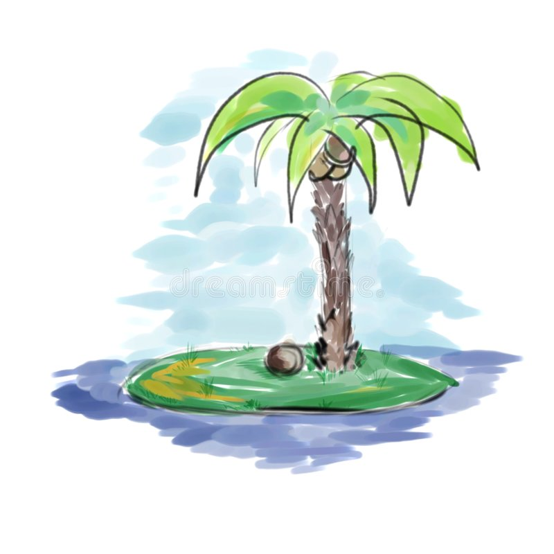 Palm at the island royalty free illustration