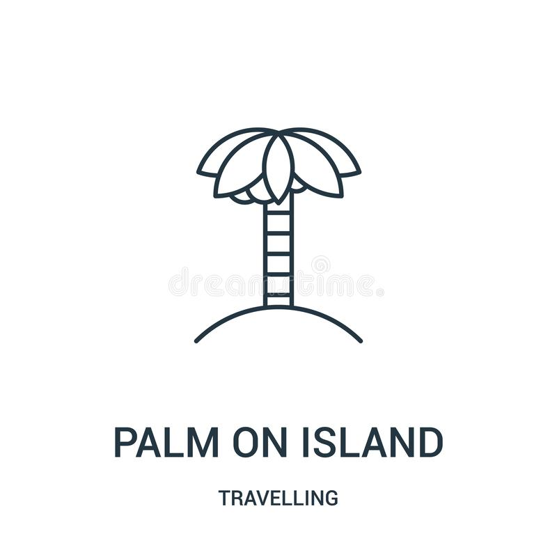 palm on island icon vector from travelling collection. Thin line palm on island outline icon vector illustration. Linear symbol stock illustration