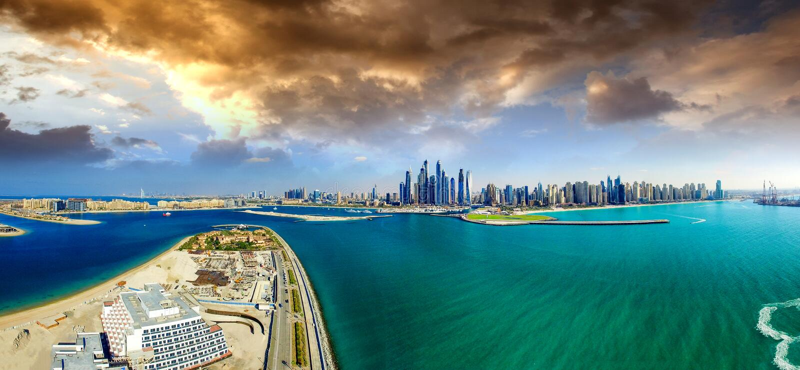 Palm Jumeirah, Palmeiland, Doubai, Verenigde Arabische Emiraten lucht stock fotografie