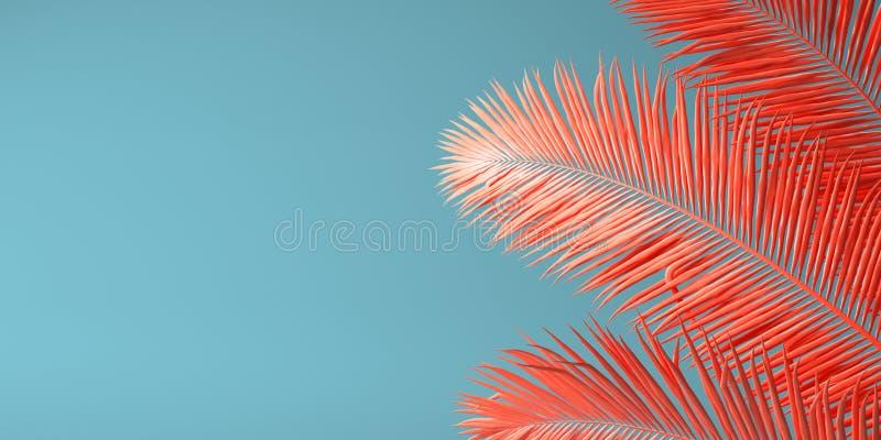 Palm, koraal, kleur, achtergrond, het leven, samenvatting, het leven koraal, 2019, jaar, rood, ontwerp, patroon, textuur, ruimte, stock fotografie