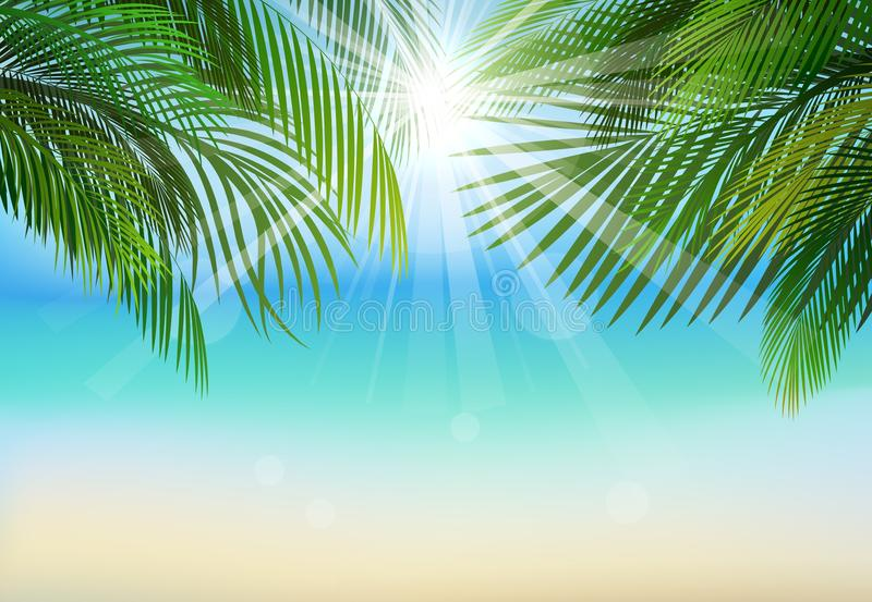 Palm leaf background on blue sky and sunbeams.Summer holidays royalty free illustration