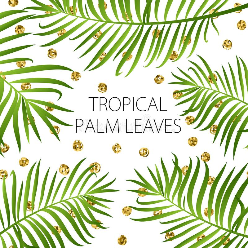 Palm leaf background. Green leaves on white background with gold glitter dots vector illustration