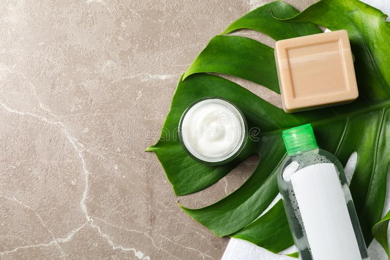 Palm leaf, cream, soap, shampoo and towel. Space for text royalty free stock photos