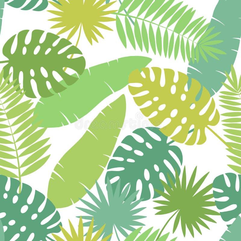 Palm leaf graphic green color seamless pattern background sketch illustration vector stock illustration