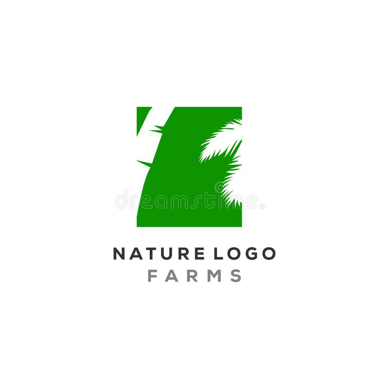 Palm leaf logo designs in negative space type, nature logo palm.  stock illustration