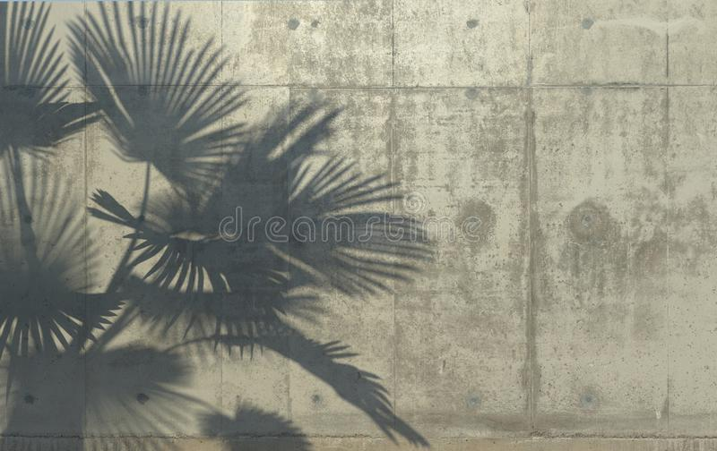Palm leaves cast a shadow on the concrete wall. Conceptual creative illustration with copy space. Concrete jungle. 3D rendering. Palm leaves cast a shadow on royalty free illustration