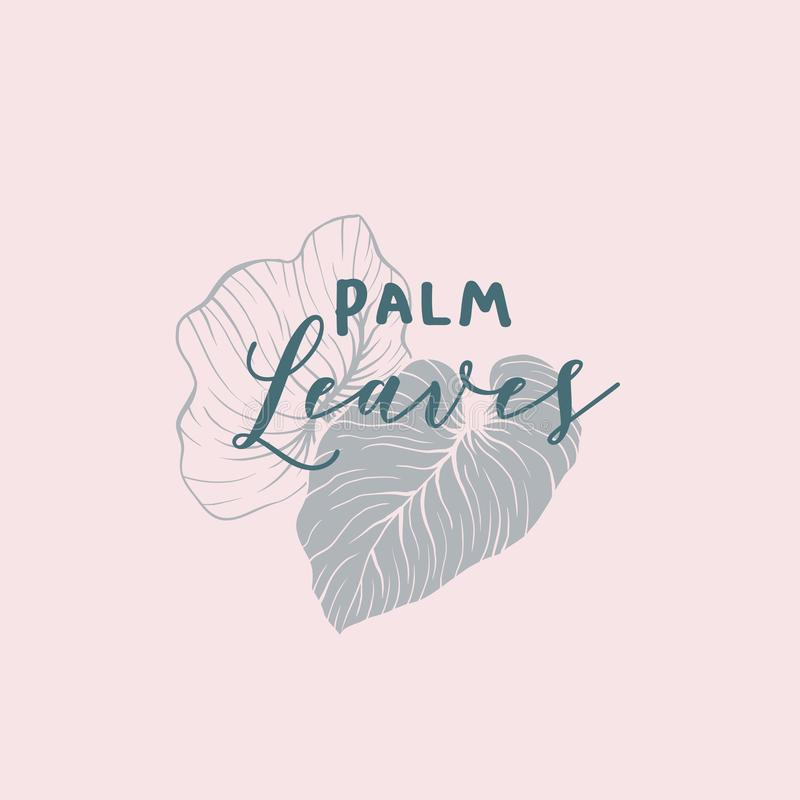 Palm leaves logo with lettering. Palm leaves illustration with lettering. Minimalistic skin care shop, spa club logotype design. Tropical leafage isolated stock illustration