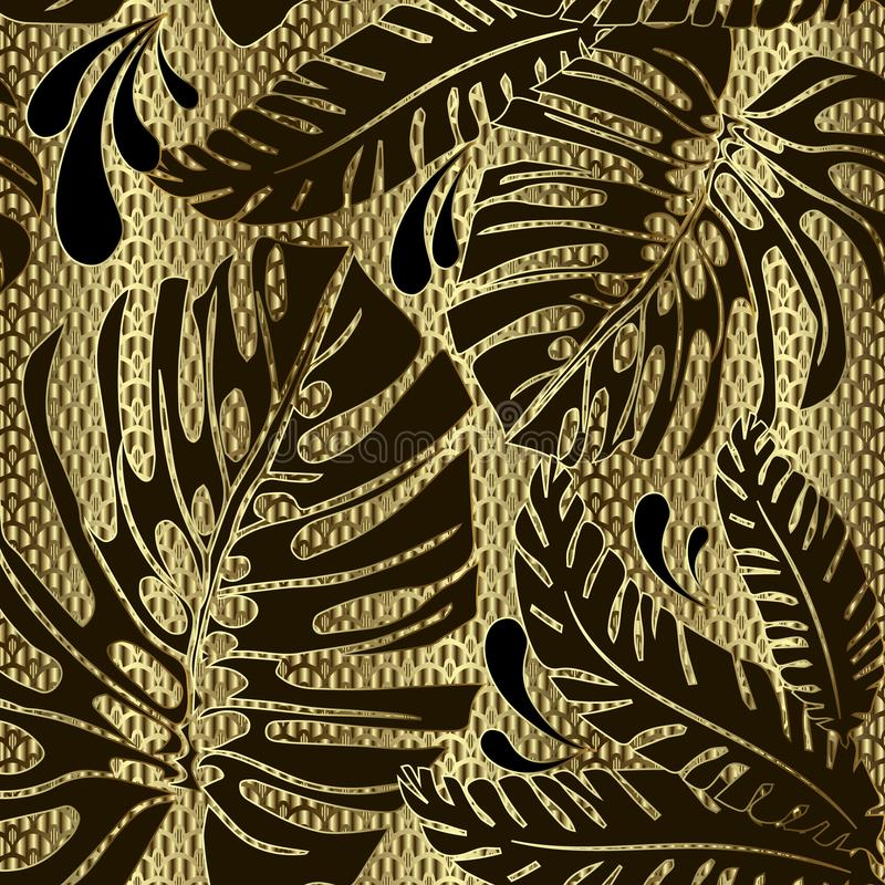 Palm leaves ornate vector seamless pattern. Ornamental gold grid lattice textured 3d background. Decorative floral repeat lace vector illustration