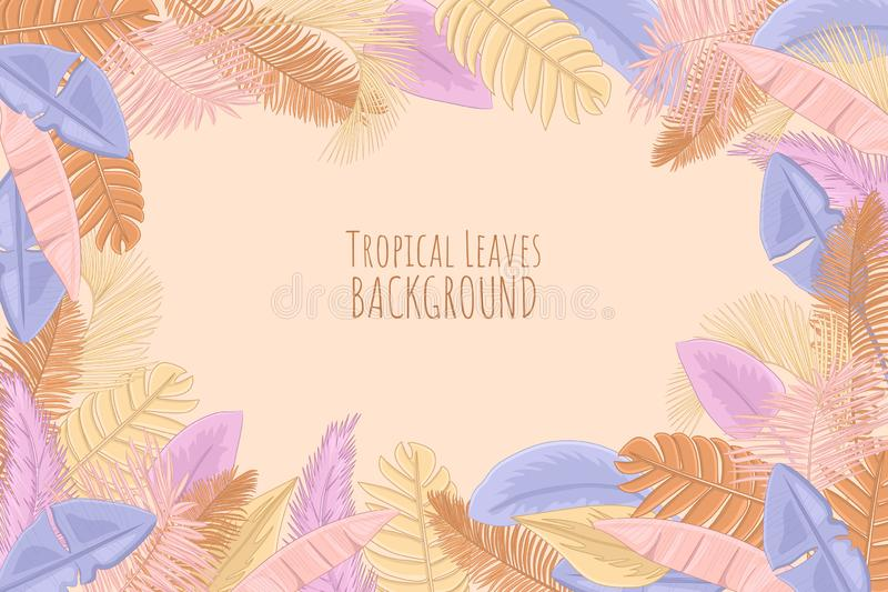 Palm leaves pastel background royalty free stock photography
