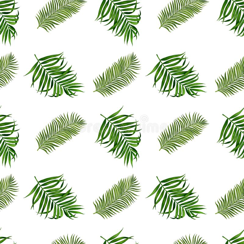 Palm leaves seamless pattern for fabric, wallpaper, wrapping paper, etc. Tropical leaves watercolor hand painted. Pattern for fabric, wallpaper and wrapping stock illustration