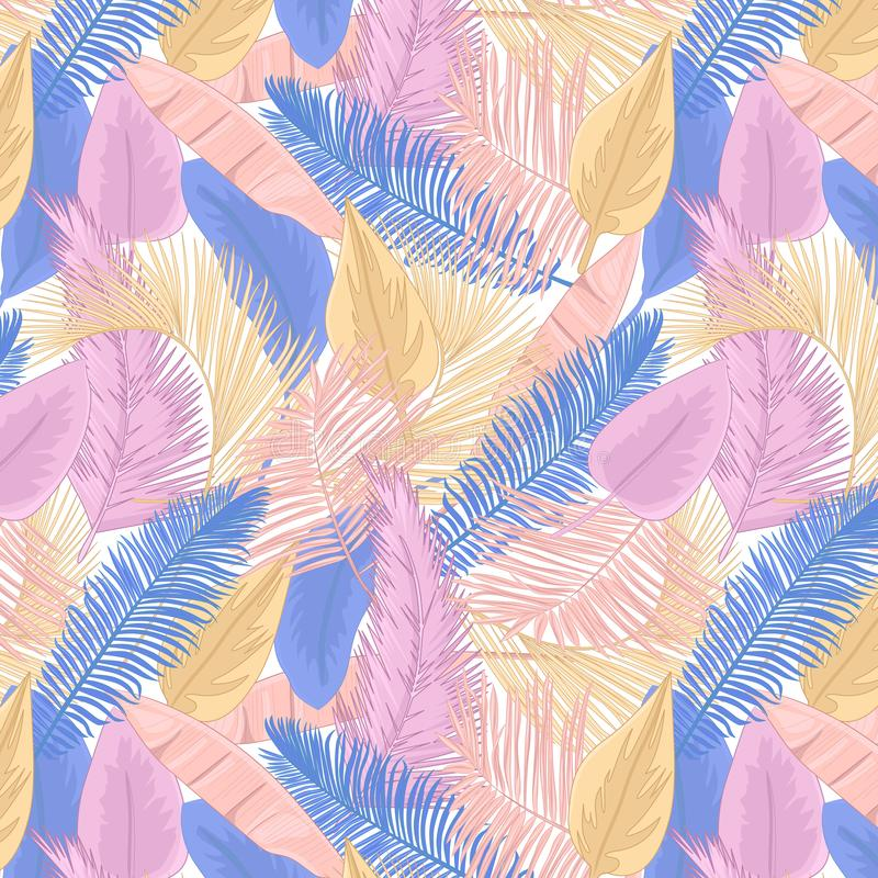 Palm leaves seamless pattern royalty free stock photos