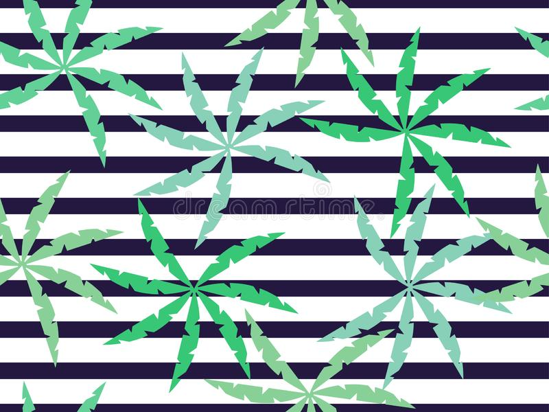 Palm leaves on a striped seamless background. Summer pattern. Vector stock illustration