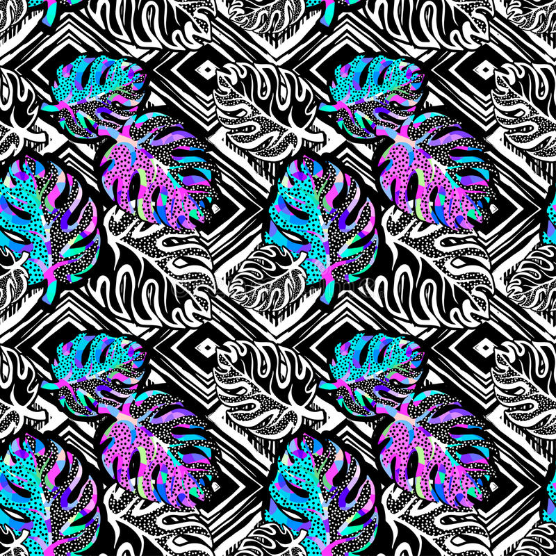 Free Palm Leaves Summer Funky Seamless Pattern. Royalty Free Stock Image - 96710606