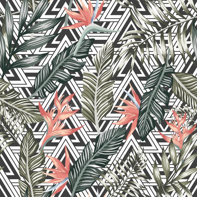 Free Palm Leaves Tropical Flowers Seamless Geometric Triangle Background Stock Image - 127531981