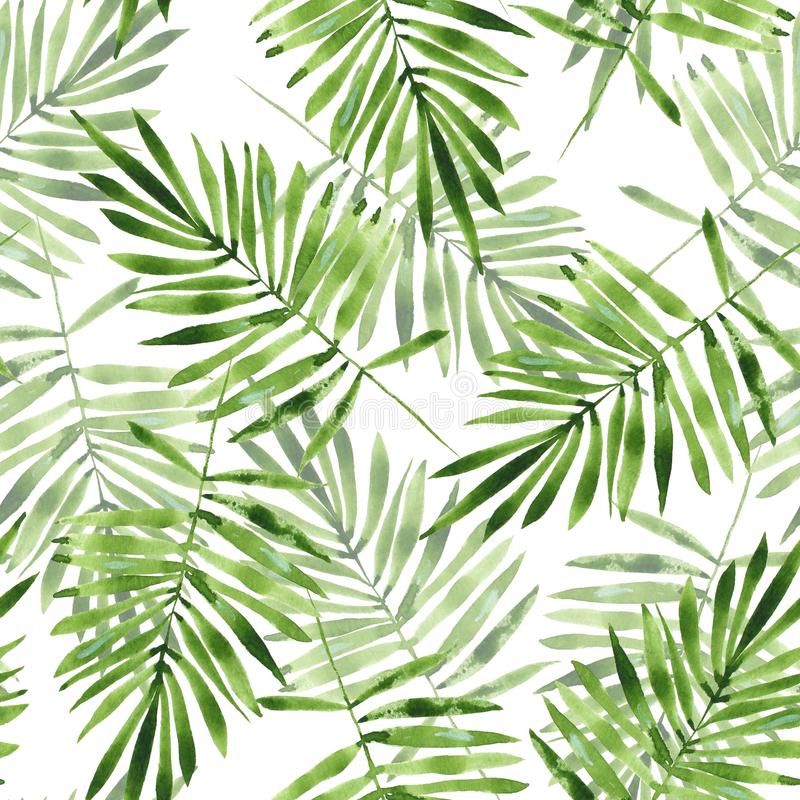 Free Palm Leaves. Watercolor Seamless Pattern 2 Royalty Free Stock Photo - 71175125