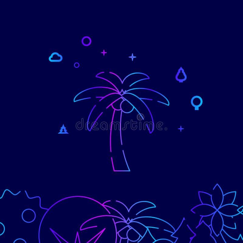 Palm met Pictogram van de Noten het Vectorlijn, Illustratie op een Donkerblauwe Achtergrond Verwante Bodemgrens stock illustratie