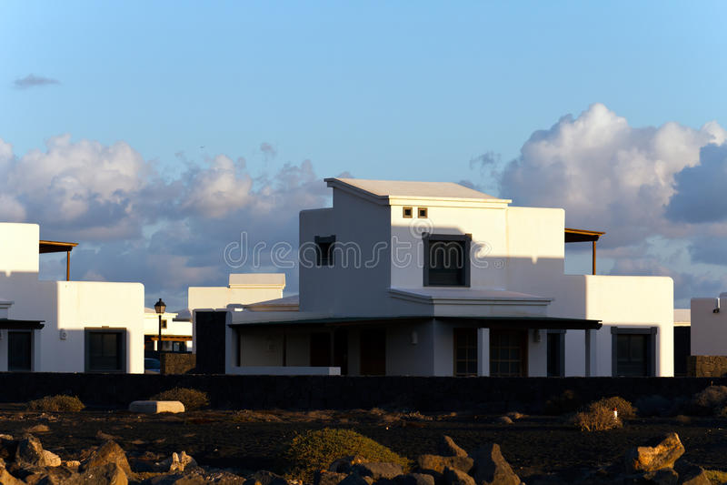 Palm and Montana Baja,Lanzarote royalty free stock image