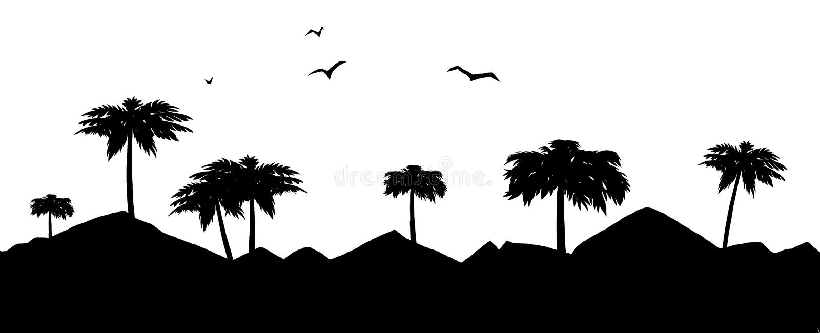 Palm and mountain royalty free illustration