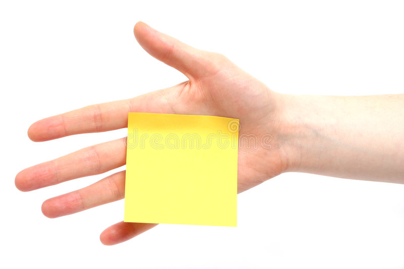 Download A Palm Note stock photo. Image of hand, isolated, empty - 4334102